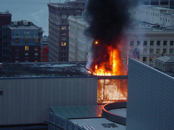 Picture of building on fire